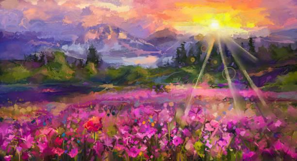 abstrakte bunte ölgemälde lila kosmos blume - schönen abend bilder stock-fotos und bilder