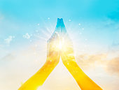 istock Abstract colorful respect and pray on sky background 504487910