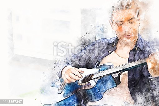 istock Abstract colorful shape on a man playing acoustic guitar on watercolor illustration painting background. 1148867347