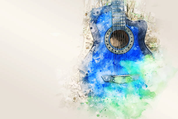 Abstract colorful shape on acoustic Guitar in the foreground on Watercolor painting background and Digital illustration brush to art. Abstract colorful shape on acoustic Guitar in the foreground on Watercolor painting background and Digital illustration brush to art. country and western music stock pictures, royalty-free photos & images