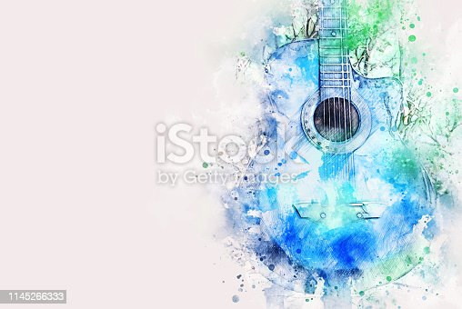 istock Abstract colorful shape on acoustic Guitar in the foreground on Watercolor painting background and Digital illustration brush to art. 1145266333