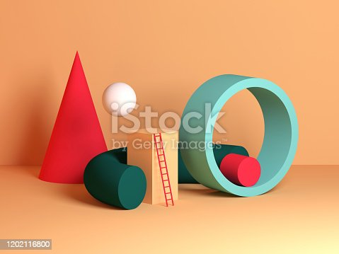 istock Abstract colorful still life installation, primitive geometric shapes 1202116800