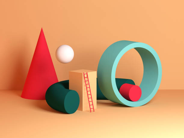 Abstract colorful still life installation, primitive geometric shapes stock photo