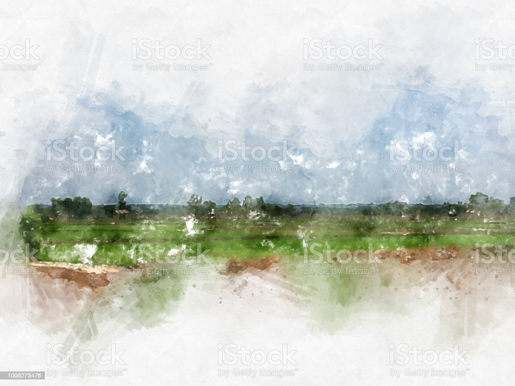 Abstract colorful tree and field landscape on watercolor illustration painting background. stock photo