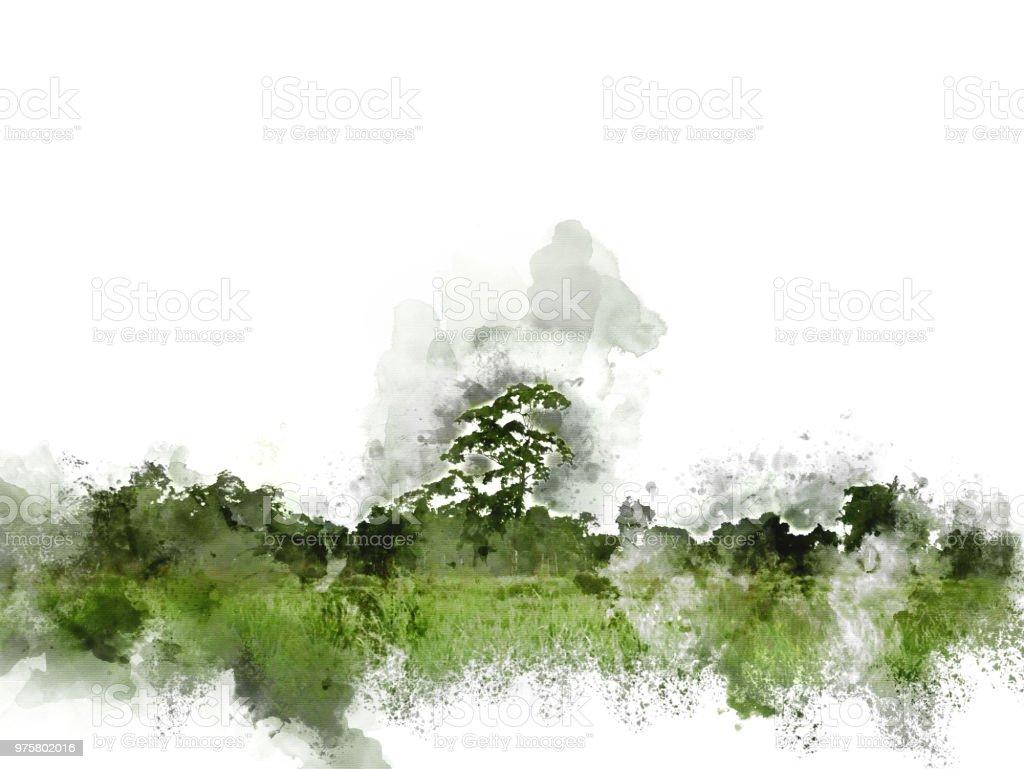 Abstrakt bunt und Landschaftsbaum auf Aquarell Hintergrund. - Lizenzfrei Abstrakt Stock-Foto