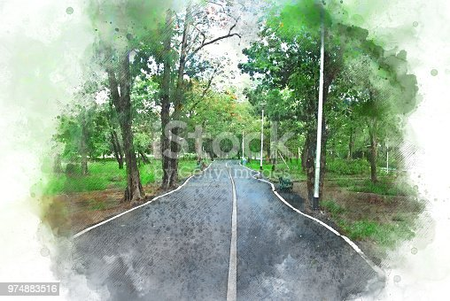 649796262istockphoto Abstract colorful tree and road on watercolor painting background. 974883516