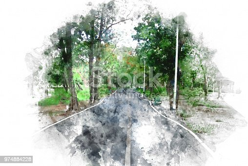 649796262istockphoto Abstract colorful tree and road on watercolor painting background. 974884228