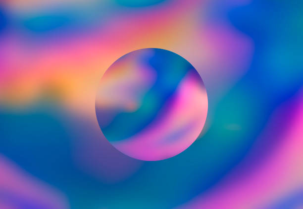 abstract colorful vaporwave holographic background with circular planet - vaporwave foto e immagini stock