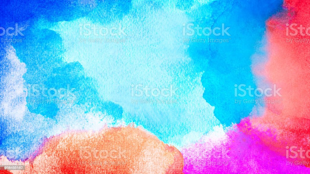 Abstract colorful watercolor for background. Handmade art painting. stock photo