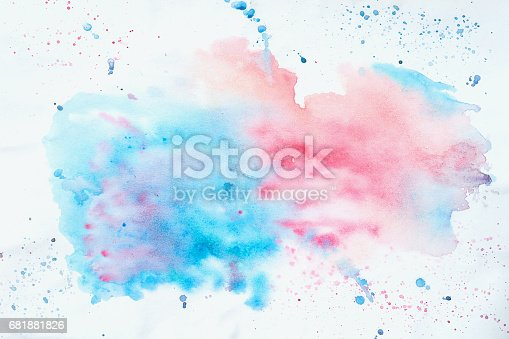 istock Abstract colorful watercolor hand drawn image for splash background, pink and blue shades on white. Artwork for creative banner, card, template, design 681881826