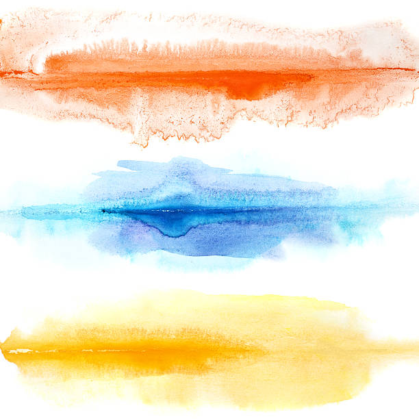 Abstract colorful watercolor lines stock photo