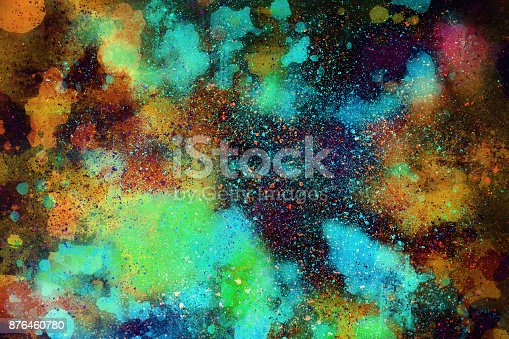 istock Abstract Colorful watercolor painting  background, Colorful brush background. 876460780