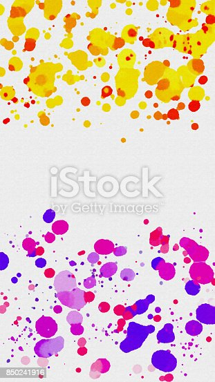 istock Abstract colorful watercolor splatters on white 850241916