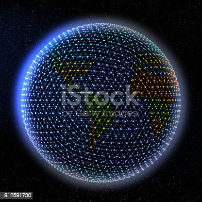 istock Abstract Colorful World Map On Earth 912591730