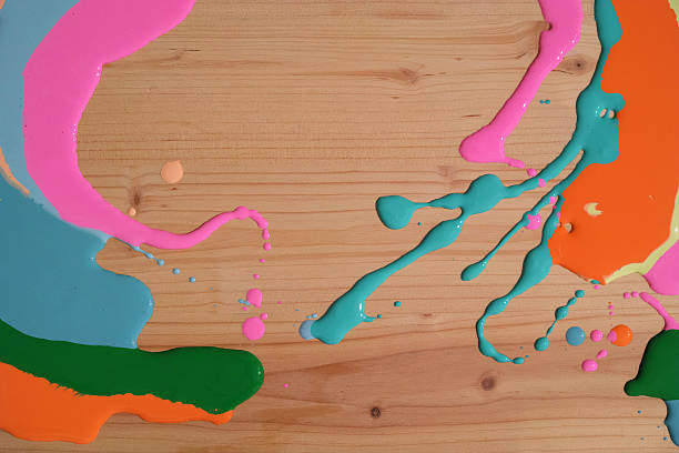 Abstract Colourful Paint On Wood Background stock photo