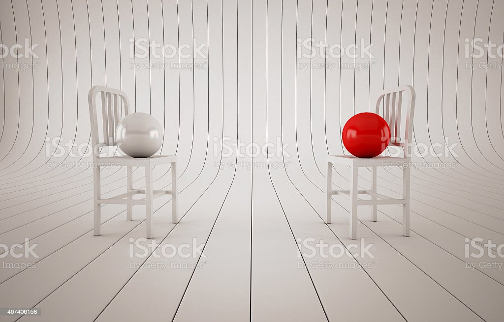 Abstract composition chairs and balls stock photo
