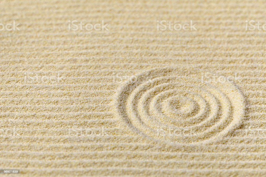 Abstract composition - Japanese zen garden with circles royalty-free stock photo