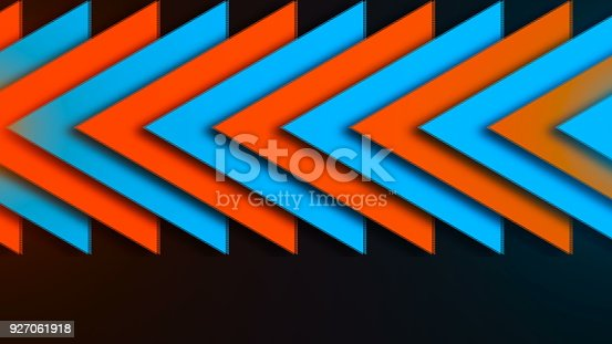 istock Abstract composition of bright arrows 927061918