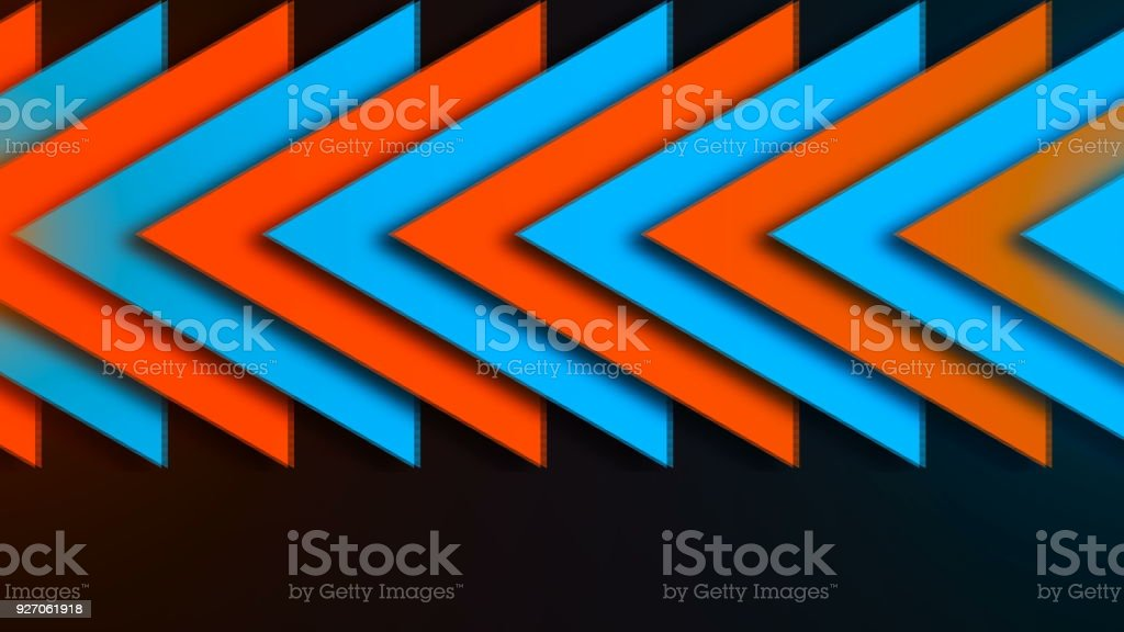 Abstract composition of bright arrows stock photo