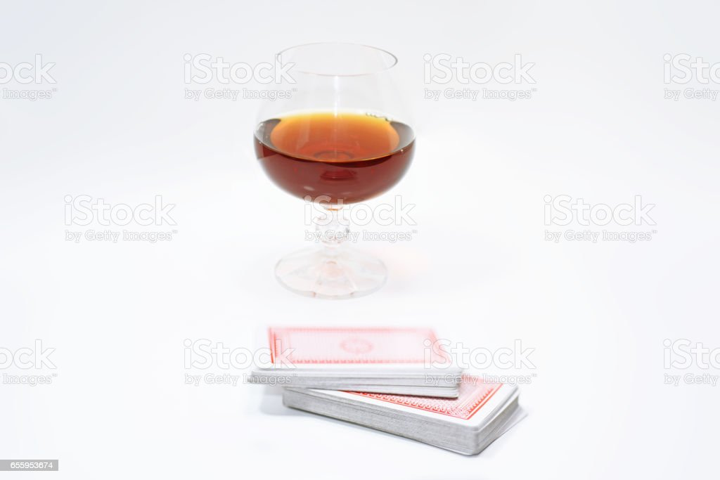 Abstract composition of playing cards. stock photo