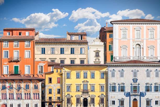 Abstract composition of typical old Italian buildings (Italy - Pisa) - concept image stock photo