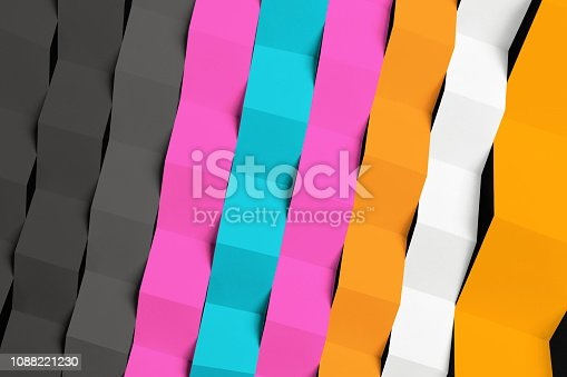 532107582 istock photo Abstract composition with colored paper stripes 1088221230