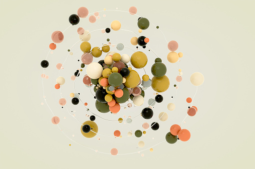 Abstract composition, design object with colorful small and bigger spheres