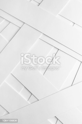 Geometric composition with white elements, abstract background