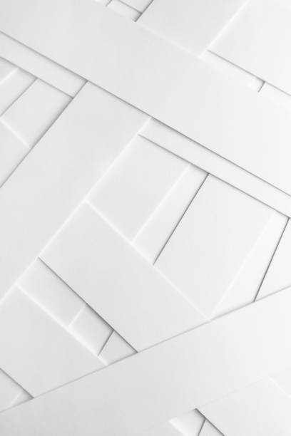 abstract composition with elements of white material - geometric shape stock pictures, royalty-free photos & images