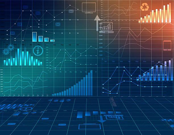 astratto computer grafica affari finanza e statistiche. - diagramma a colonne foto e immagini stock