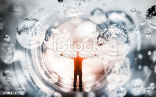 Abstract concept illustration with man inside fantasy background