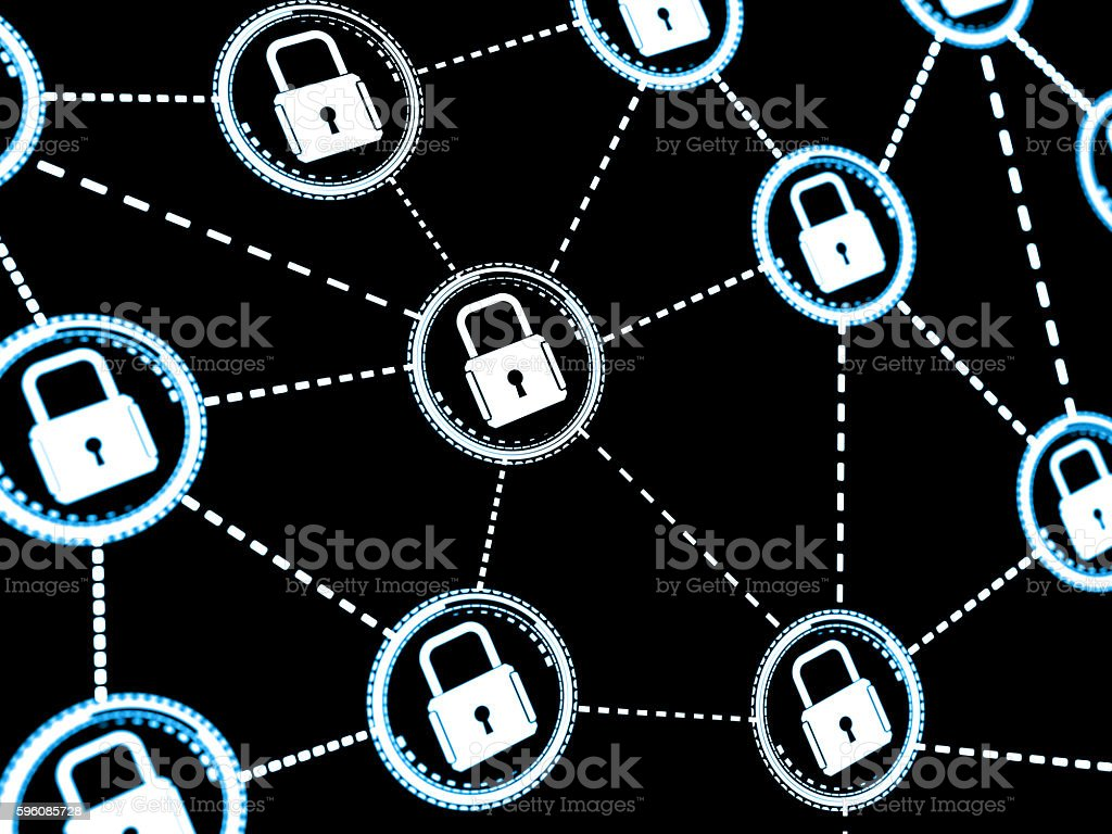 Abstract concept Internet Cyber Security network with lock royalty-free stock photo