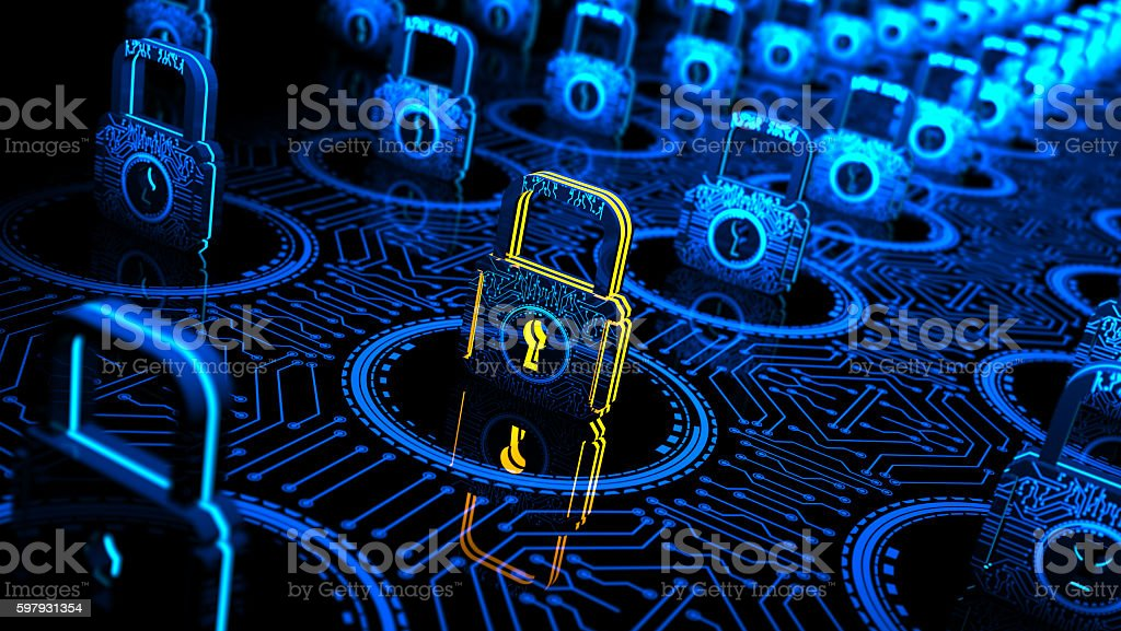 Abstract concept Internet Cyber Security network with lock stock photo