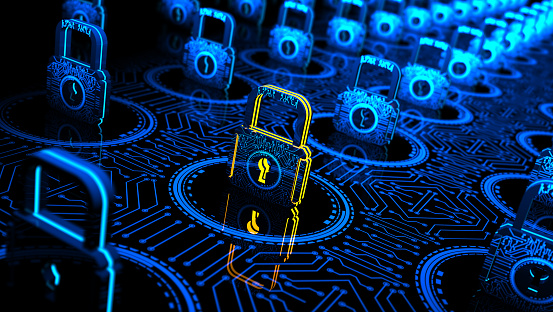 Abstract Concept Internet Cyber Security Network With Lock Stock Photo - Download Image Now