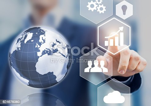 istock Abstract concept of business success, growth and globalization 624676060