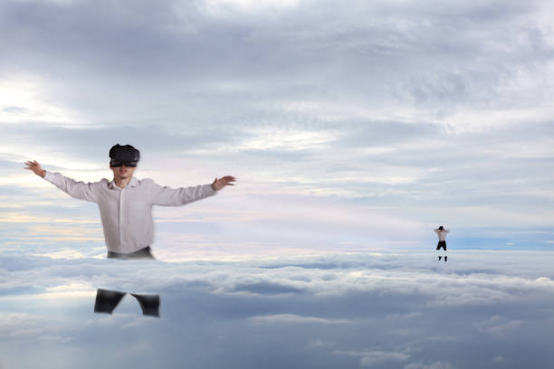 Abstract concept of businessman drifting in clouds Abstract concept of businessman drifting in clouds augmented reality sustainable stock pictures, royalty-free photos & images