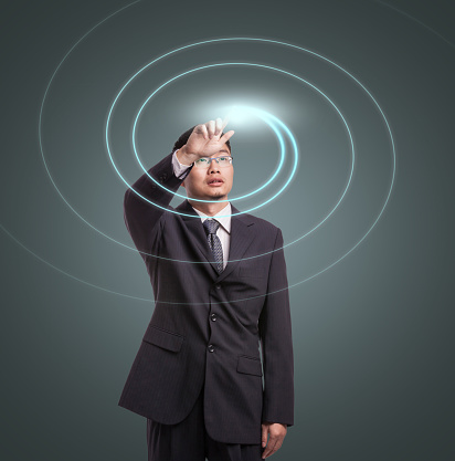 Abstract concept of Businessman using VR stock photo
