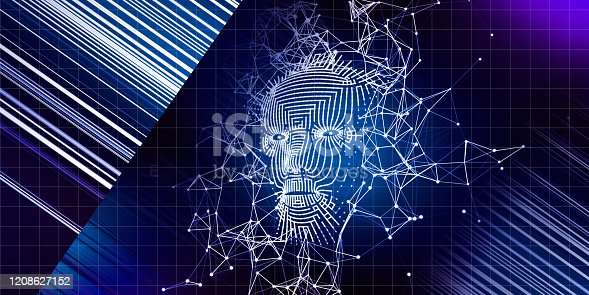 istock Abstract concept  with  3d grid face. Artificial intelligence background  with lens effect.  AI. Abstract digital grid human face. 1208627152