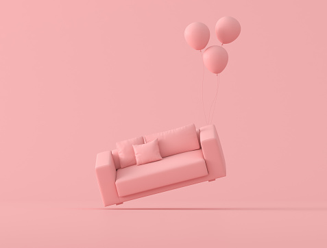 Abstract conceptual idea of pink sofa is floating up by balloons on pink background, minimal style. 3D rendering