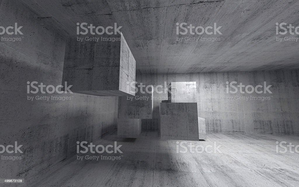 Beton In Interieur : Abstrakt beton dinterieur mit fliegende würfel weitwinkel stock