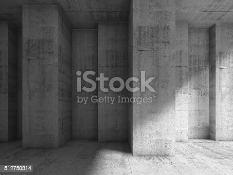 istock Abstract concrete 3d interior with many corners 512750314