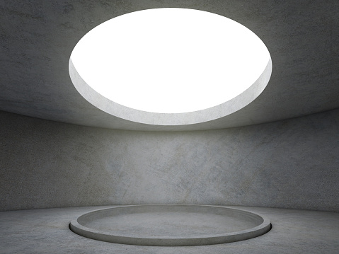 Abstract concrete architecture space with circle lighting hole on ceiling and round pool on the center of the ground
