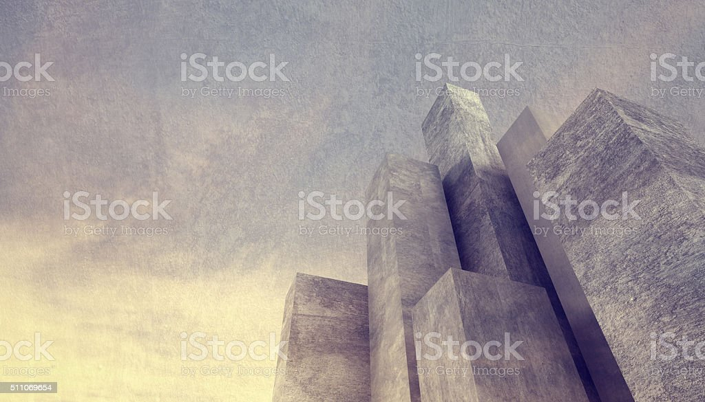 Abstract concrete city background with massive stone buildings stock photo