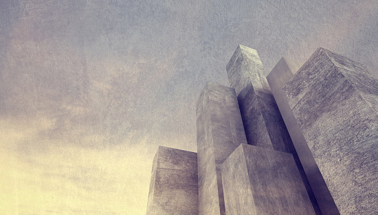 Abstract Concrete City Background With Massive Stone ...