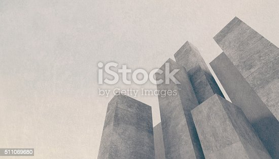 istock Abstract concrete city background with towering stone buildings 511069680