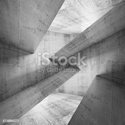 Abstract concrete construction background, square 3d illustration