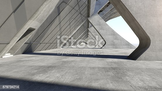 istock Abstract concrete geometric structure background. 3D rendering 579734214
