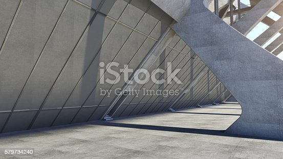 istock Abstract concrete geometric structure background. 3D rendering 579734240