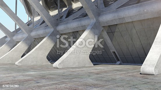 istock Abstract concrete geometric structure background. 3D rendering 579734280