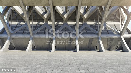 istock Abstract concrete geometric structure background. 3D rendering 579734312